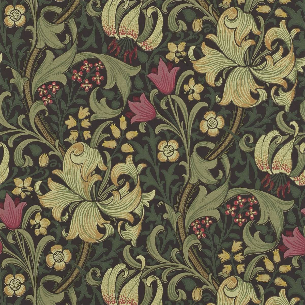 Golden Lily Wallpaper Charcoal Olive 210403 William