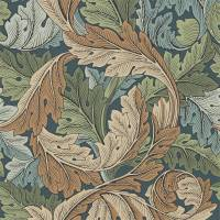 Acanthus Wallpaper - Slate Blue / Thyme