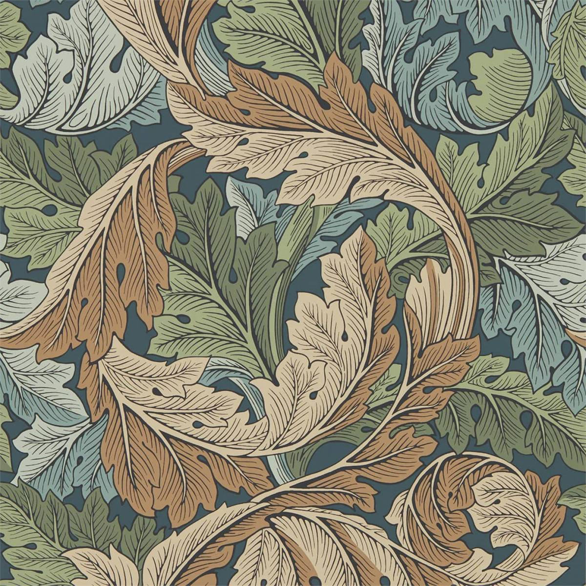Acanthus Wallpaper - Slate Blue / Thyme (216440) - William ...