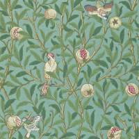 Bird & Pomegranate Wallpaper - Turquoise/Coral