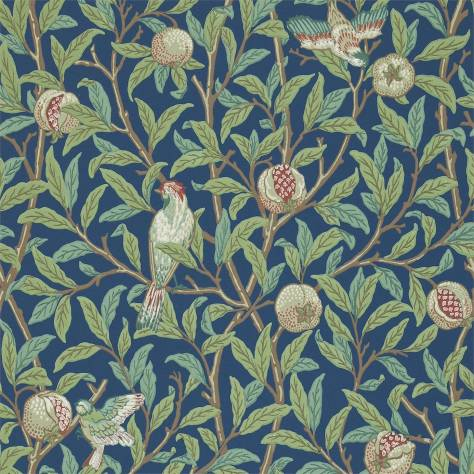 William Morris & Co Archive II Wallpapers Bird & Pomegranate Wallpaper - Blue/Sage - 212540