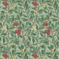 Arbutus Wallpaper - Dark Green/Red