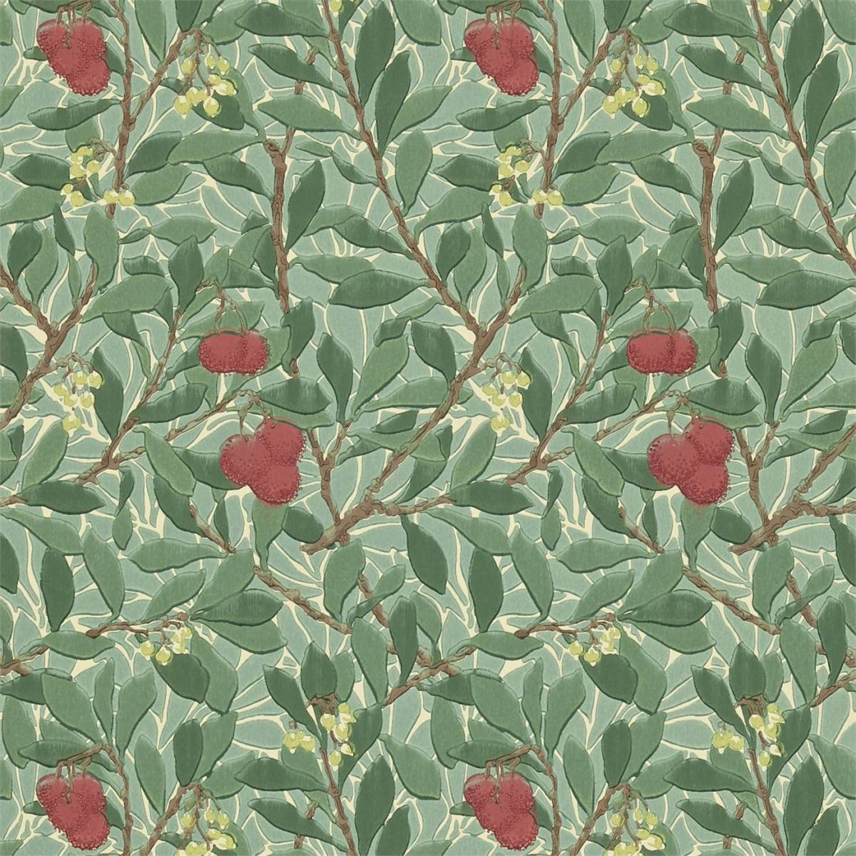 Arbutus Wallpaper Dark Green Red 210406 William