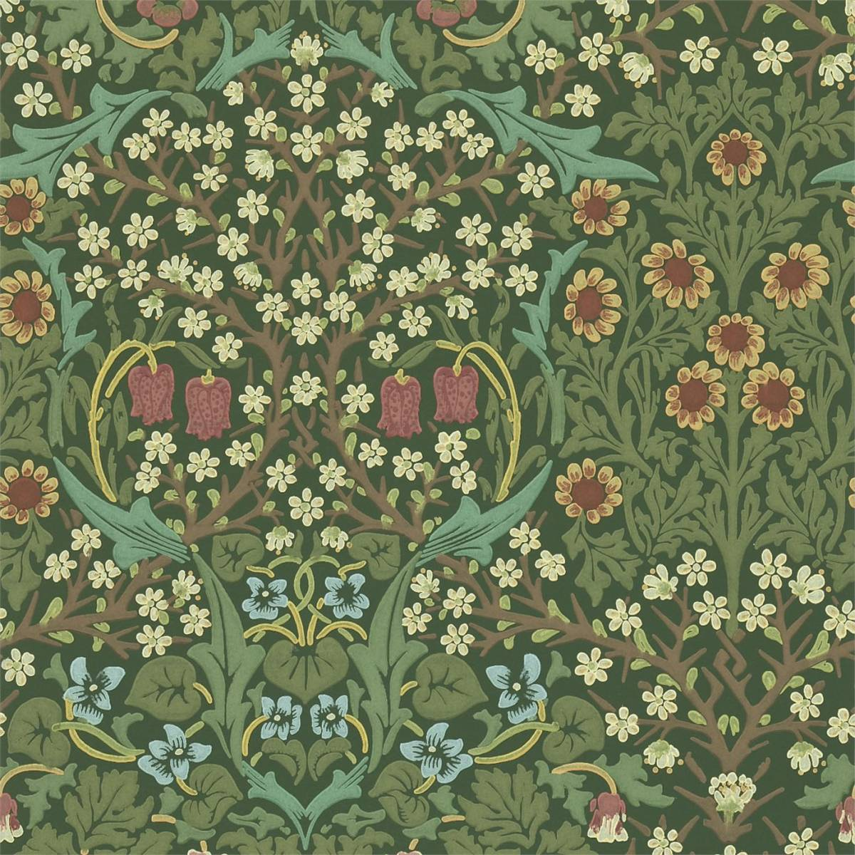 William Morris Co Blackthorn Wallpaper Greenproduct Code 210409