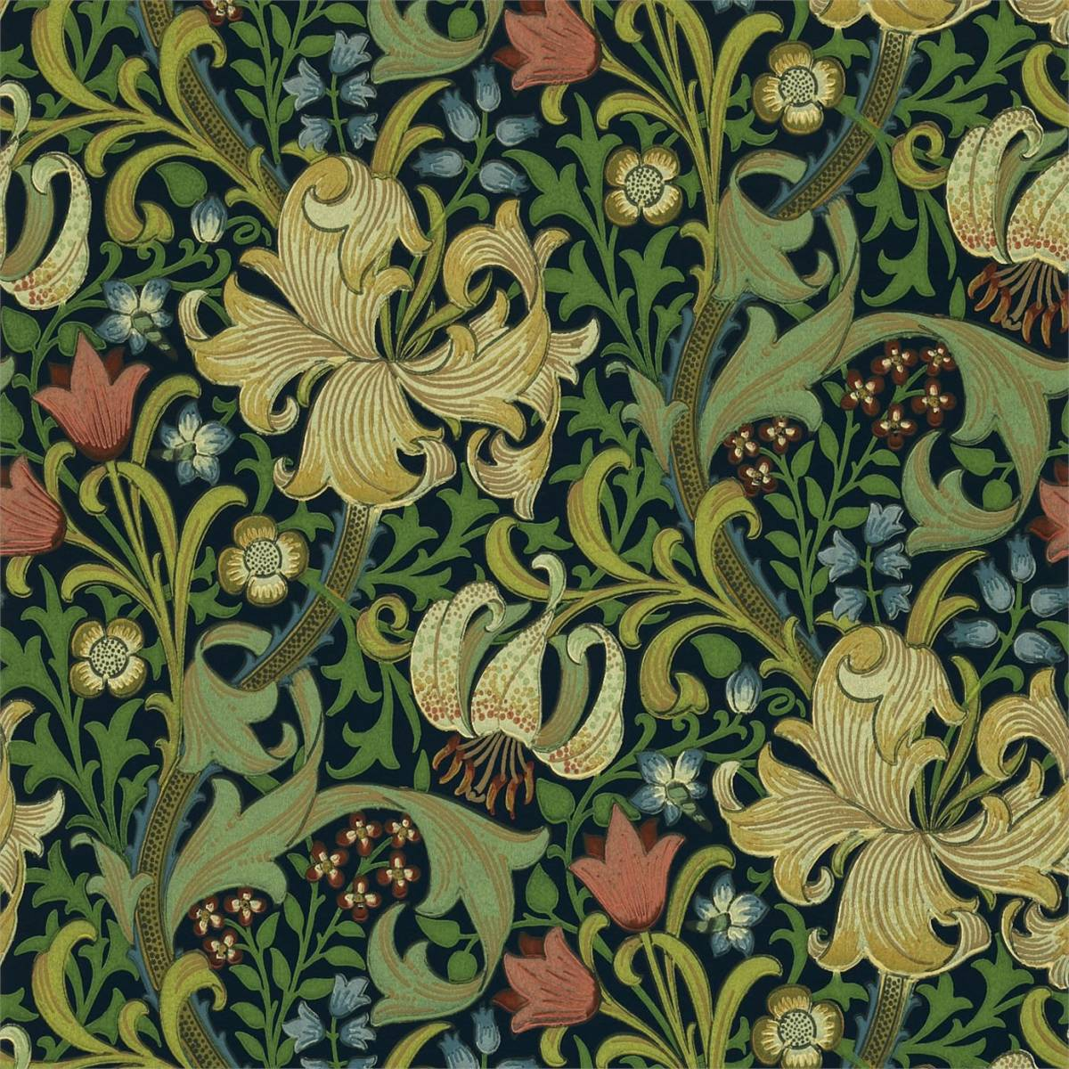 Golden Lily Wallpaper Indigo 210429 William Morris