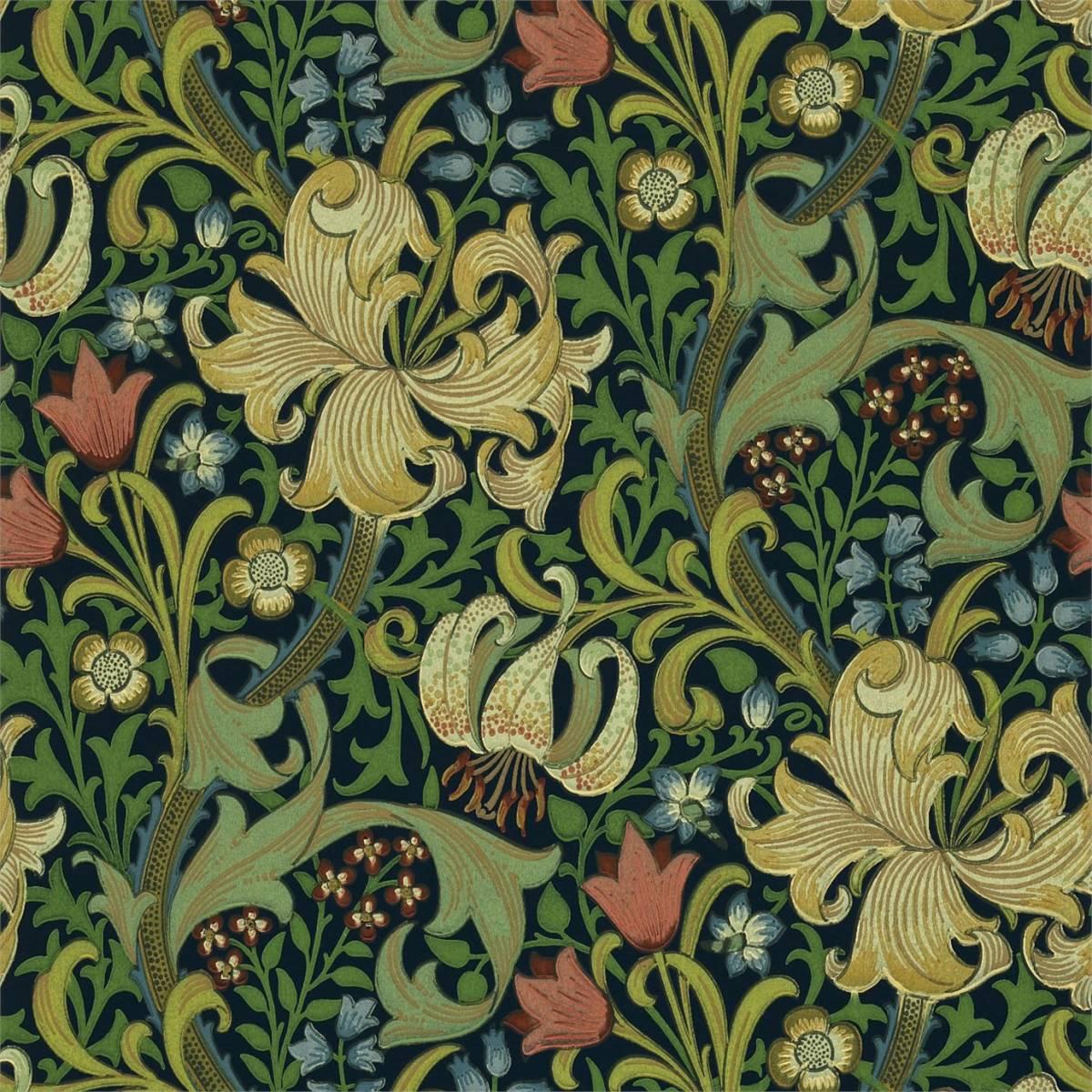 golden lily wallpaper indigo 210429 william morris