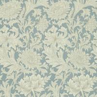 Chrysanthemum Toile Wallpaper - China Blue/Cream