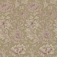 Chrysanthemum Toile Wallpaper - Grape/Bronze