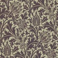 Thistle Wallpaper - Mulberry/Linen