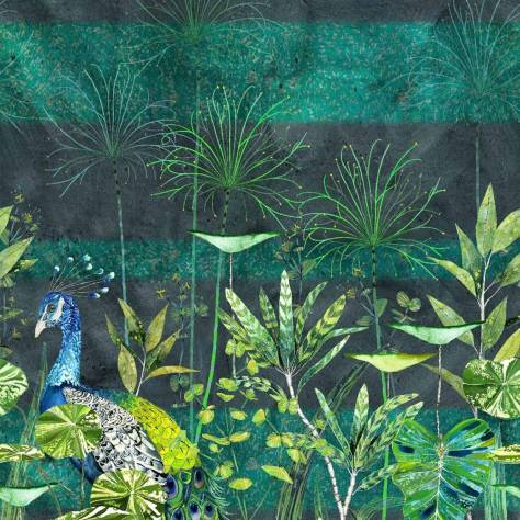 Designers Guild Zardozi Wallpapers Arjuna Leaf with Peacock Wallpanel - Viridian - PDG1069/01