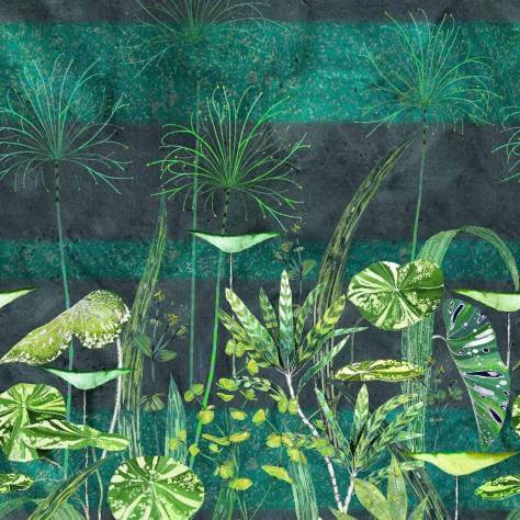 Designers Guild Zardozi Wallpapers Arjuna Leaf Wallpanel - Viridian - PDG1088/01
