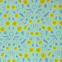 Candytuft Wallpaper - Teal/Cadmium