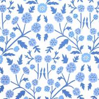 Candytuft Wallpaper - Marine/Indigo