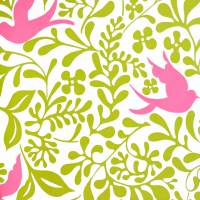 Larksong Wallpaper - Lime/Cerise