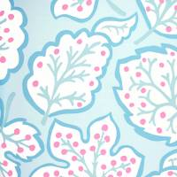 Jewel Leaves Wallpaper - Blue/Berry