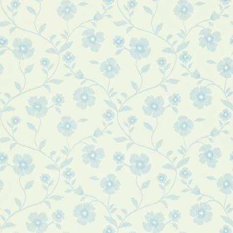 Sanderson Home Maycott Prints Fabrics & Wallpapers Sabine Wallpaper - Ivory/China Blue - 212003
