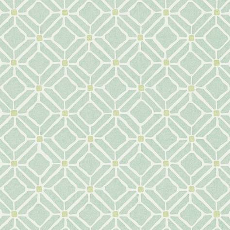 Fretwork wallpaper aqua lime 213720 sanderson home for Wallpaper home fabrics