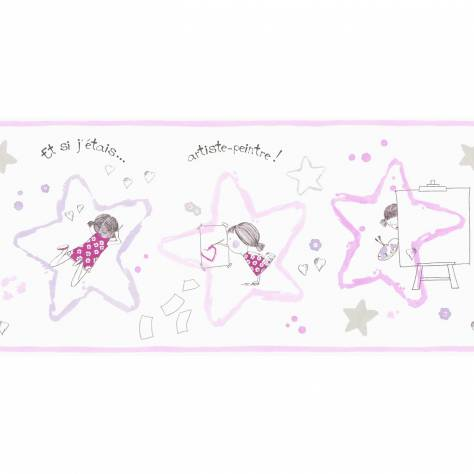 Casadeco Arc En Ciel Artiste Fille Wallpaper Border - Iridescent Rose - 25444103