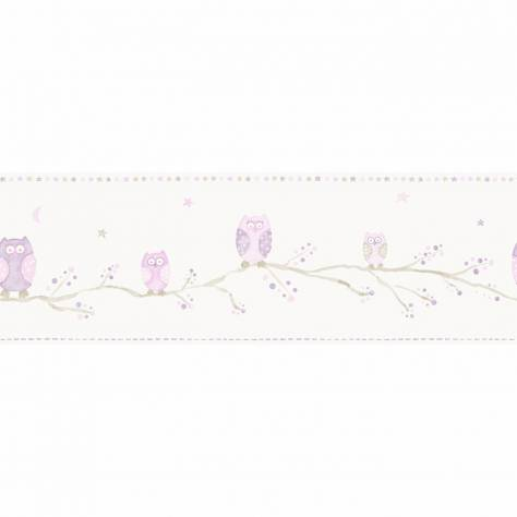 Casadeco Arc En Ciel Chouettes Wallpaper Border - Rose - 25524126