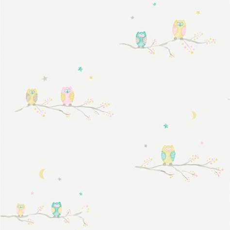 Casadeco Arc En Ciel Chouettes Wallpaper - Green - 25807156