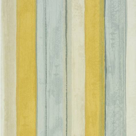 Casadeco Amazing Fabrics & Wallpapers Rayure Wallpaper - Yellow/Blue/Grey - 26842109