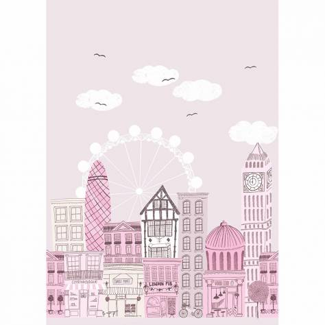 Casadeco Alice & Paul Fabrics & Wallpapers Ville Panoramique Wallpanel - Rose/Gris - 28134332