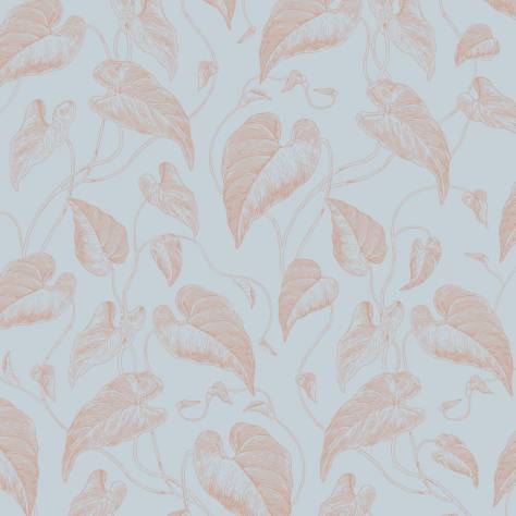 Casadeco Rendez-Vous Fabrics & Wallpapers Fleur de Vigne Wallpaper - Blue/Copper - 29046104