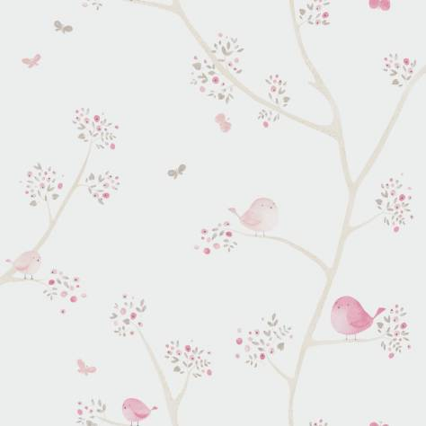Casadeco My Little World Fabrics & Wallpapers Allover Birds Wallpaper - Rose - 29834318