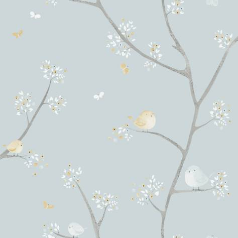 Casadeco My Little World Fabrics & Wallpapers Allover Birds Wallpaper - Blue - 29836127