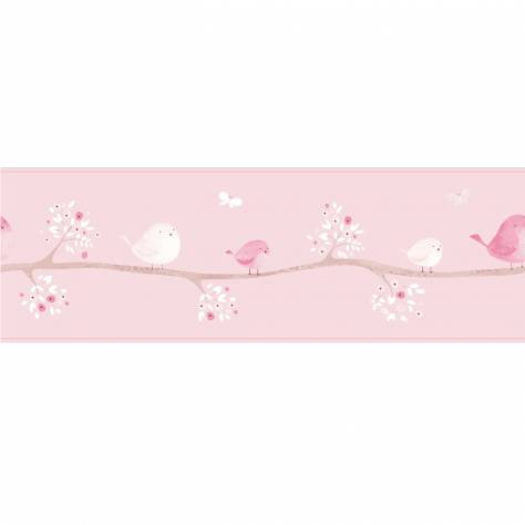 Casadeco My Little World Fabrics & Wallpapers Oiseaux Wallpaper Border - Rose - 29854300