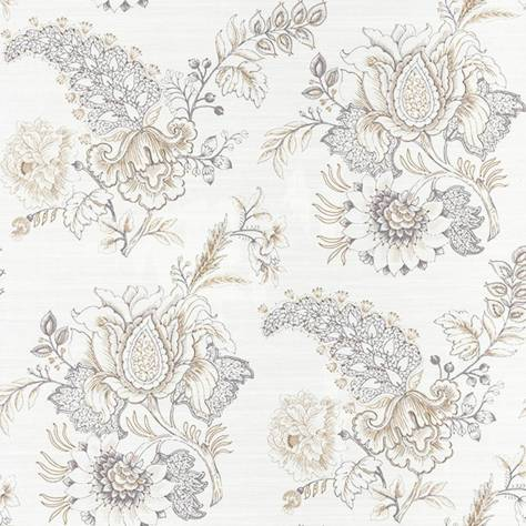 Casadeco Silk Road Wallpapers Motif Fleur Wallpaper - Gris Clair - 81361102