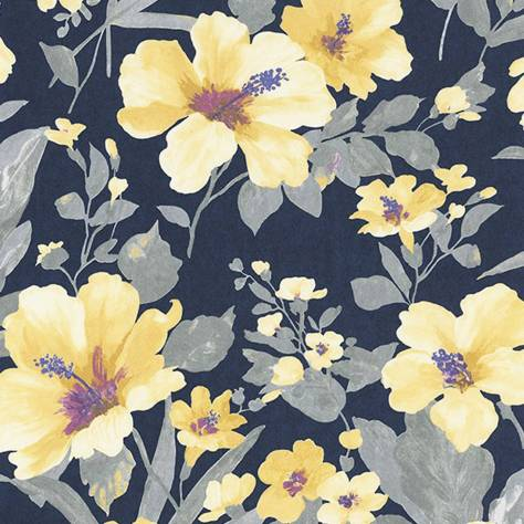 Casadeco Florescence Fabrics and Wallpapers Luxembourg Wallpaper - Encre/Curry - 82346506
