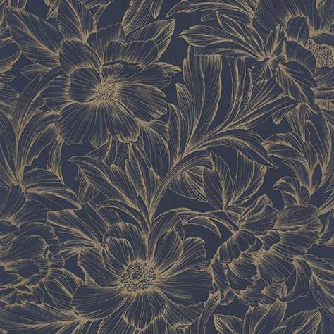 Casadeco Florescence Fabrics and Wallpapers Monceau Wallpaper - Encre/Dore - 82356515