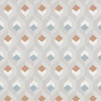 Hexacube Wallpaper - Taupe/Bleu/Terracotta