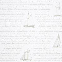Bateau Wording Wallpaper - Beige