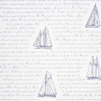 Bateau Wording Wallpaper - Blue