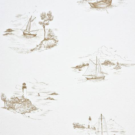 Casadeco Marina Fabrics & Wallpapers Toile De Jouy Wallpaper - Taupe - 25071440