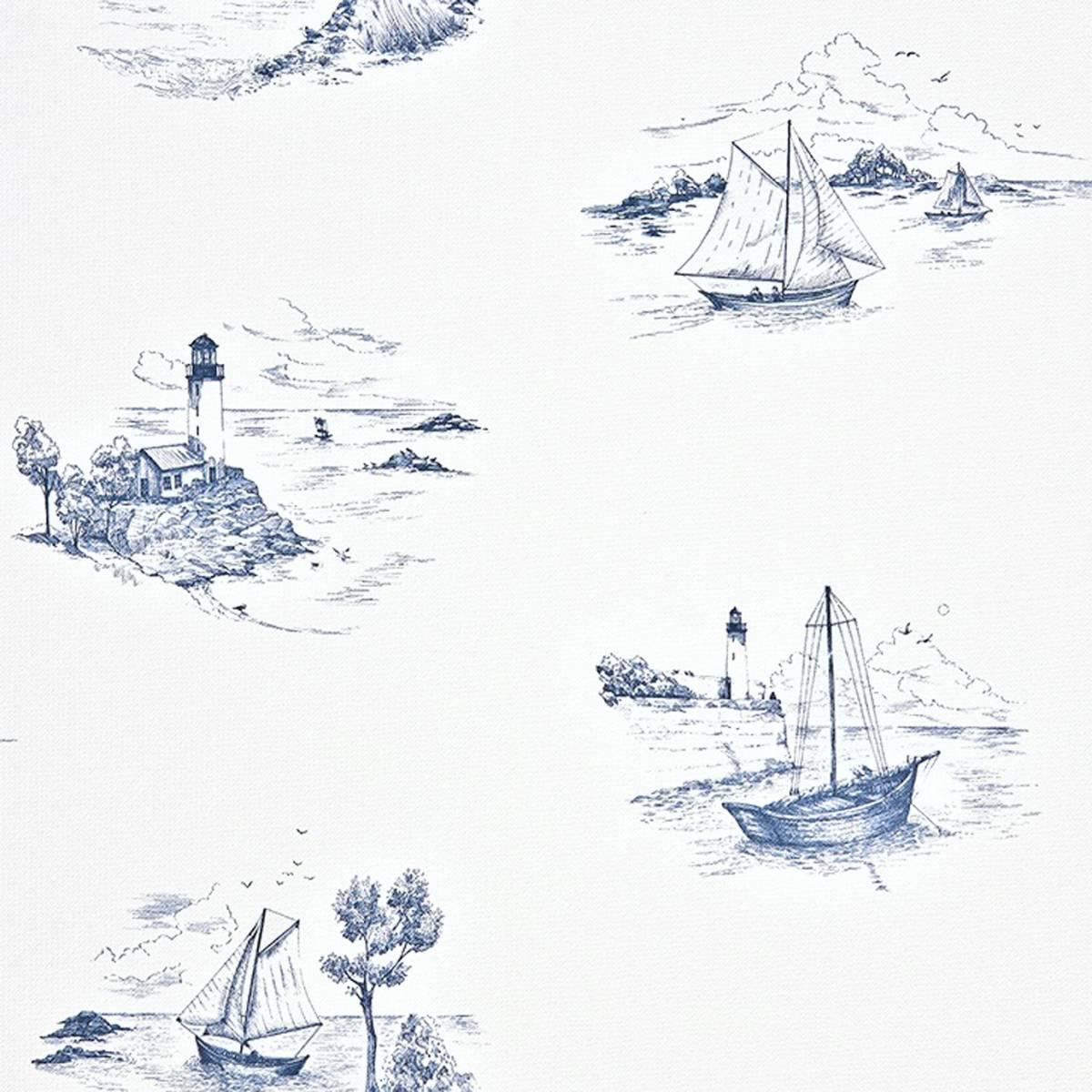 Toile de jouy wallpaper blue 25076131 casadeco - Papel pintado toile de jouy ...