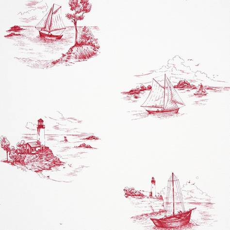 Casadeco Marina Fabrics & Wallpapers Toile De Jouy Wallpaper - Red - 25078104