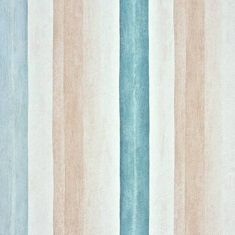 Casadeco Marina Fabrics & Wallpapers Rayure Aquarelle Wallpaper - Turquoise - 25127225