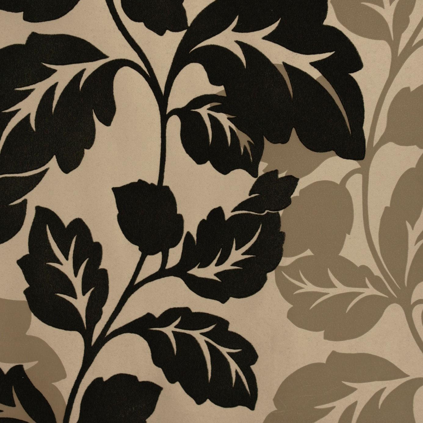 Ornella flock wallpaper espresso w0007 01 clarke for Flock wallpaper