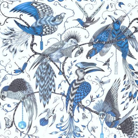 Clarke & Clarke Emma J Shipley for Clarke and Clarke Animalia Wallpapers Emma J Shipley Audobon Wallpaper - Blue - W0099/01