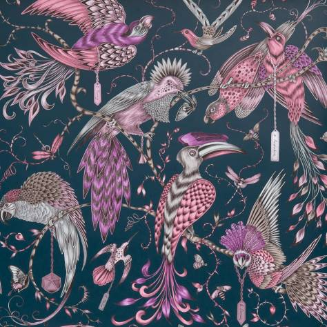 Clarke & Clarke Emma J Shipley for Clarke and Clarke Animalia Wallpapers Emma J Shipley Audobon Wallpaper - Pink - W0099/04