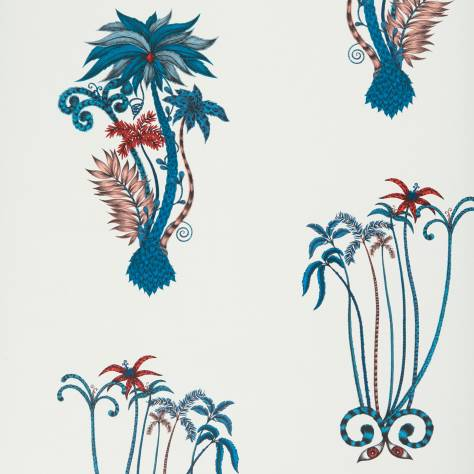 Clarke & Clarke Emma J Shipley for Clarke and Clarke Animalia Wallpapers Emma J Shipley Jungle Palms Wallpaper - Blue - W0101/01