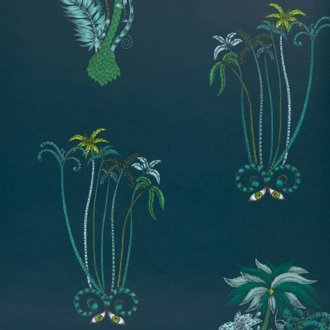 Clarke & Clarke Emma J Shipley for Clarke and Clarke Animalia Wallpapers Emma J Shipley Jungle Palms Wallpaper - Navy - W0101/03