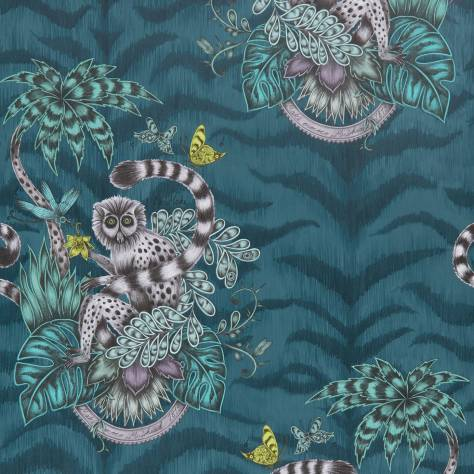 Clarke & Clarke Emma J Shipley for Clarke and Clarke Animalia Wallpapers Emma J Shipley Lemur Wallpaper - Navy - W0103/03