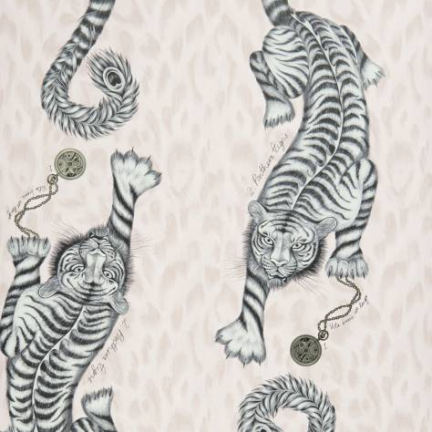 Clarke & Clarke Emma J Shipley for Clarke and Clarke Animalia Wallpapers Emma J Shipley Tigris Wallpaper - Pink - W0105/04