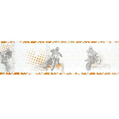 Caselio  Only Boys Wallpapers Motocross Wallpaper Border - Orange - 64823068