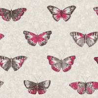 Papillons Wallpaper - Pink/Grey