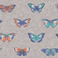Papillons Wallpaper - Blue/Orange